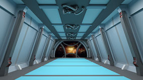 Sci fi  corridor with view of space galaxy 3d  render Royalty Free Stock Images