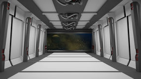 Sci fi  corridor with view of space galaxy Royalty Free Stock Images