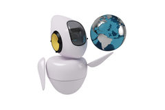 Sci-fi cute robot and Earth Royalty Free Stock Photography