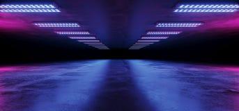Sci FI-Cyber-futuristisches ausländisches Schiffs-Tanz-Licht-glühende Purpur-rosa blaue Neonlaserlichte geführt auf dunkler Schmu stock abbildung