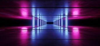 Sci FI-Cyber-futuristisches ausländisches Schiffs-Tanz-Licht-glühende Purpur-rosa blaue Neonlaserlichte geführt auf dunkler Schmu vektor abbildung