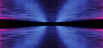 Sci FI-Cyber-futuristisches ausländisches Schiffs-Tanz-Licht-glühende Purpur-rosa blaue Neonlaserlichte geführt auf dunkler Schmu lizenzfreie abbildung