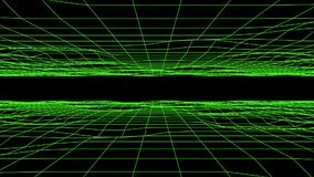 3D Green Flowing Digital Grid Floor & Ceiling Loopable Background stock video
