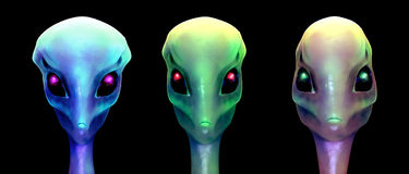 Sci-fi 3d illustration, three aliens Stock Photo