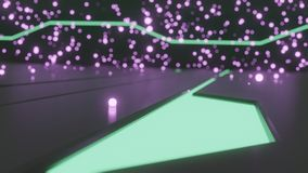 Sci-fi 3d rendering of single purple glowing particle on floor with futuristic glowing designs and glowing particles in background. Sci-fi 3d rendering of single stock illustration