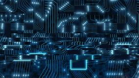 Sci-Fi digital blue background, printed circuit board with chips and electronic signals 3d render binary data