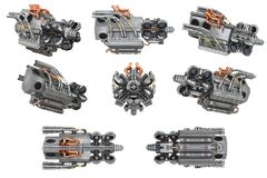 Sci-fi engine car set Stock Photography