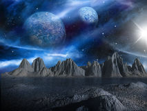 Sci-fi fantasy space scene alien planet stock illustration