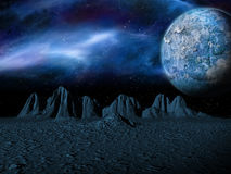 Sci-fi fantasy space scene alien planet Royalty Free Stock Images