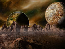 Sci-fi fantasy space scene alien planet royalty free illustration
