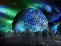 Sci-fi fantasy space scene alien planet Royalty Free Stock Photo