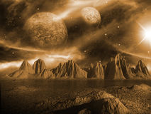 Sci-fi fantasy space scene alien planet Stock Photos