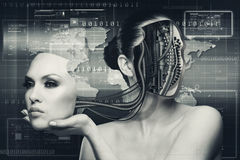 Sci-fi female portrait for your design Stock Photos
