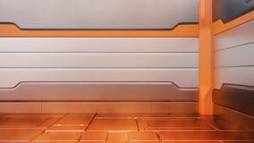 Sci-Fi fire damaged metallic corridor background 3d render stock illustration