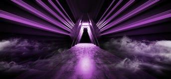 Sci Fi fuma el triángulo futurista del vapor de la niebla formó la luz porta púrpura de la puerta de Violet Glowing Neon Fluoresc ilustración del vector