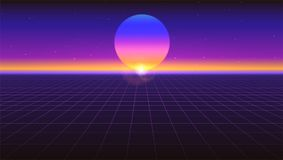 Sci fi futuristic abstract background. Violet retro gradient, vintage style of the 80s. Virtual surface with neon grids. Digital cyber world. Vector Stock Illustration