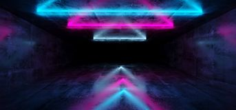 Sci-Fi Futuristic Abstract Gradient Blue Purple Pink Neon Glowin. G Triangle Shaped Tubes On Reflection Concrete Room Walls Dark Interior Empty Space Spaceship vector illustration