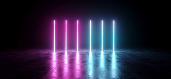 Sci-Fi Futuristic Abstract Gradient Blue Purple Pink Neon Glowin. G Tubes On Reflection Concrete Floor Dark Interior Room Empty Space Spaceship 3D Rendering vector illustration