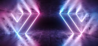 Sci-Fi Futuristic Abstract Gradient Blue Purple Pink Neon Glowin. G Tubes On Reflection Concrete Floor Dark Interior Room Empty Space Spaceship 3D Rendering royalty free illustration