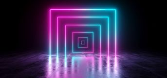 Sci-Fi Futuristic Abstract Gradient Blue Purple Pink Neon Glowin. G Rectangle Cube Square Shape Tubes On Reflection Concrete Floor Dark Interior Room Empty Space royalty free illustration