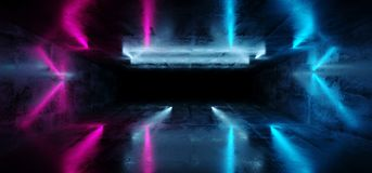 Sci-Fi Futuristic Abstract Gradient Blue Purple Pink Neon Glowin. G Tubes Reflection In Grunge Concrete Room Dark Interior Empty Space Spaceship 3D Rendering royalty free illustration