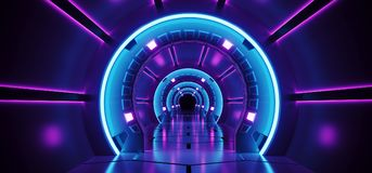 Sci-Fi Futuristic Abstract Gradient Blue Purple Pink Neon Glowing Circle Round Corridor On Reflection Concrete Floor Dark. Interior Room Empty Space Spaceship royalty free illustration