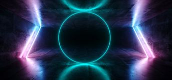 Sci-Fi Futuristic Abstract Gradient Blue Purple Pink Neon Glowin. G Circle Round Shape Tubes On Reflection Concrete Floor Dark Interior Room Empty Space royalty free illustration
