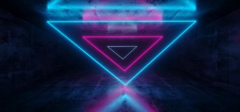 Sci-Fi Futuristic Abstract Gradient Blue Purple Pink Neon Glowin. G Triangle Shaped Tubes On Reflection Grunge Concrete Room Walls Dark Interior Empty Space royalty free illustration