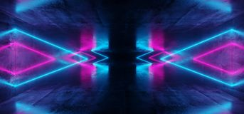 Sci-Fi Futuristic Abstract Gradient Blue Purple Pink Neon Glowin. G Triangle Shaped Tubes On Reflection Grunge Concrete Room Walls Dark Interior Empty Space vector illustration