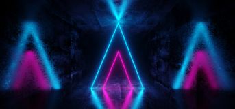 Sci-Fi Futuristic Abstract Gradient Blue Purple Pink Neon Glowin. G Triangle Shaped Tubes On Reflection Grunge Concrete Room Walls Dark Interior Empty Space stock illustration