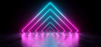 Sci-Fi Futuristic Abstract Gradient Blue Purple Pink Neon Glowin. G Triangle Tubes On Reflection Concrete Floor Dark Interior Room Empty Space Spaceship 3D vector illustration
