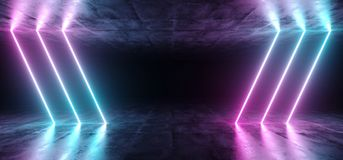 Sci-Fi Futuristic Abstract Gradient Blue Purple Pink Neon Glowin. G Tubes On Reflection Concrete Floor Dark Interior Room Empty Space Spaceship 3D Rendering stock illustration