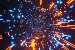 Free Sci-Fi Futuristic Alien Space Tunnel Neon Glowing Lights, Wormhole Through Time Background 3D Rendering Royalty Free Stock Photos - 215607788