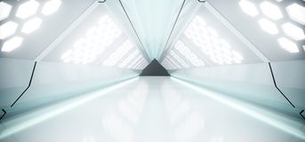 Sci-Fi Futuristic Bright Long Triangle Shaped Ship Tunnel With H. Exagon White Lights And Reflected Materials 3D Rendering Illustration Royalty Free Illustration