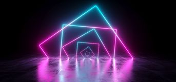 Sci-Fi Futuristic Chaotic Abstract Gradient Blue Purple Pink Neo. N Glowing Rectangle Cube Square Shape Tubes On Reflection Concrete Floor Dark Interior Room stock illustration
