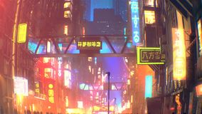 Sci fi futuristic city at night with aerial city traffic and peoples