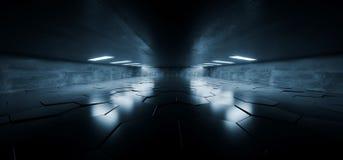Sci Fi Futuristic Concrete Grunge Tunnel Hallway Reflective Garage Underground Garage Glowing Blue White Windows Led Lights Tiled Royalty Free Stock Photo