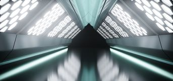 Sci-Fi Futuristic Dark Long Triangle Shaped Ship Tunnel With Hex. Agon White Lights And Reflected Materials 3D Rendering Illustration Stock Illustration