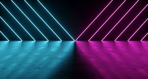 Sci-FI Futuristic Dark Room With Purple And Blue Neon Triangle L. Ights With Concrete Reflections. 3D Rendering Illustration Royalty Free Stock Photos