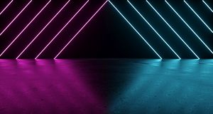 Sci-FI Futuristic Dark Room With Purple And Blue Neon Triangle L. Ights With Concrete Reflections. 3D Rendering Illustration Stock Photography