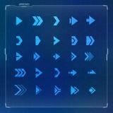 Sci-fi Futuristic design arrow icons set. Futuristic and sci-fi design concept arrow icons set for hud graphical user interface Stock Image