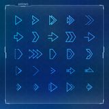 Sci-fi Futuristic design arrow icons set. Futuristic and sci-fi design concept arrow icons set for hud graphical user interface Royalty Free Stock Image