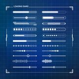 Sci-fi futuristic design loading bars set. Sci-fi futuristic digital design loading progress bars set for hud graphical user interface and motion design Stock Images