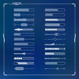 Sci-fi futuristic design loading bars set. Sci-fi futuristic digital design loading progress bars set for hud graphical user interface and motion design Stock Image