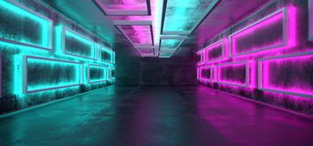 Sci-Fi Futuristic Modern Grunge Concrete Empty Underground Tunne. L Corridor Garage With Rectangle Shapes Walls And Blue Purple Neon Glowing Tube Lights vector illustration