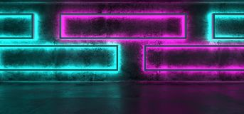 Sci-Fi Futuristic Modern Grunge Concrete Empty Underground Tunne. L Corridor Garage With Rectangle Shapes Walls And Blue Purple Neon Glowing Tube Lights royalty free illustration