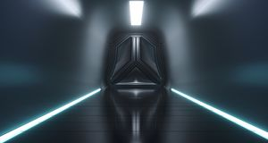 Sci Fi Futuristic Ship Tunnel With Door And Surface Reflections. 3D Rendering Illustration Royalty Free Stock Image