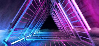 Sci Fi Futuristic Smoke Fog Neon Glowing Purple Blue Triangle Shaped Tunnel Corridor With Metal Structures And Dark End Vibrant. Ultraviolet Concrete. 3D vector illustration