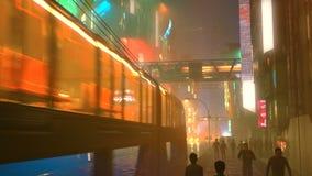 Sci fi futuristisk stad på natten med flyg- stadstrafik och illustrationen för folk 3d vektor illustrationer