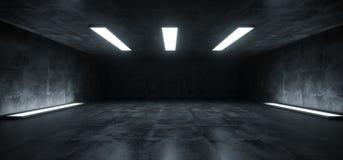 Sci Fi Futurystycznej Pracownianej sceny Podziemni światła białe Jarzy się W Ciemnego Grunge Odbijającego betonu garażu pokoju Pu royalty ilustracja